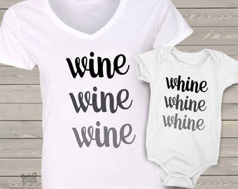 Mom and baby shirt set - custom WINE and whine matching Tshirt or bodysuit set WWGS