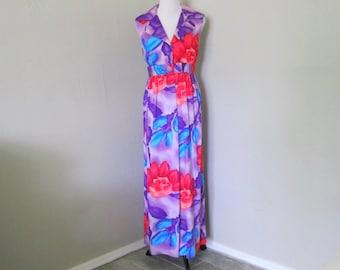 Vintage Hawaiian Dress, 1970s Pacifica Honolulu Bright Purple and Pink Floral Sleeveless Dress, Size 14 Vintage Hawaii Resort Wear for Women