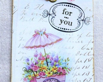 For You Flower Cart Gift or Scrapbook Tags or Magnet #641