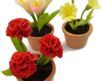 Miniature Polymer Clay Flowers Supply for Dollhouse 3 pieces of Carnation Calla Daisy