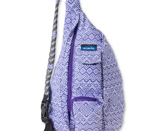 Monogrammed Kavu Rope Bags - Purple Quilt - Great gift for College, Teens, Women, Outdoors Satchel Crossbody Tote