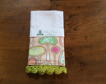 Spring Trees Crochet Kitchen Towel