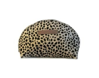 leather pouch leopard hair, print black white panther