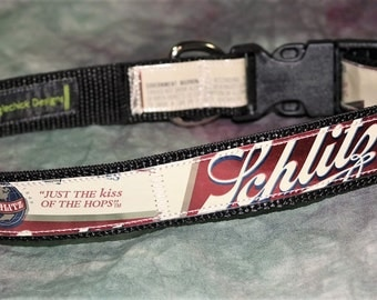 Adjustable Dog Collar from Recycled Vintage Schlitz Beer Labels