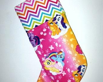 Girls Pony Handmade Christmas Stocking, REaDy To ShIP, Lined Cotton, X-Mas Stocking, Little Girls Xmas Decor