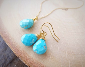 Sleeping Beauty Turquoise Necklace & earring SET, teal blue, wire wrapped gemstones, December birthstone, good luck, Healing stones, energy