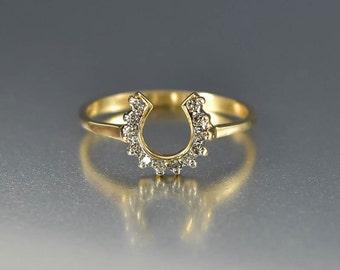 Vintage 14K Gold Diamond Horseshoe Ring, Lucky Charm Good Luck Ring, Horse Shoe Ring, Boho Stacking Ring