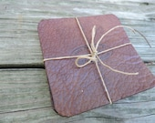 Leather Coasters / Set of 4/ Drink Coasters/ Bison Leather Coasters / Hand Crafted / Handmade Leather Coasters /