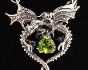 Silver Dragon Heart Pendant with Peridot Dragon Necklace Dragon Pendant Dragon Jewelry Heart Necklace Peridot Jewelry Heart Necklace Silver