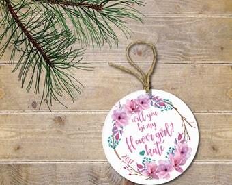Will You Be My Flower Girl, Flower Girl Gift, Gift for Flower Girl, Wedding Gift, Christmas Ornament, Flower Girl Keepsake, Wedding Keepsake