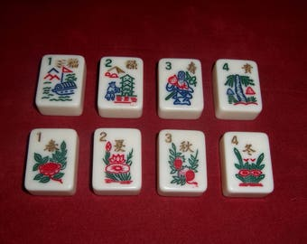 Mah Jong TILES Vintage Numbers Chinese Character Men Flowers Boat Jewelry Crafts Game Pieces Crisloid USA Lot 8