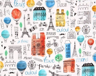 206960 white Robert Kaufman Paris Eiffel Tower hot air balloon fabric