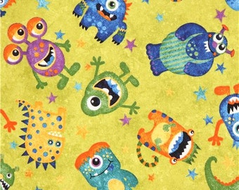 1 2 yard pigs on green fabric by the half yard 44 wide for Monster themed fabric