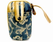 Special Reserve for Sandy Weinstock - Specially Designed for Stylus2 Plus iPhone - Blue and Gold Damask Zip Around Carryall Wristlet Bag