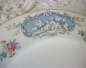 Light Blue Toile English Plates Dinner (3) Dubarry Paragon By Appointment to Her Majesty, Transfer Ware Transferware Romantic French Country