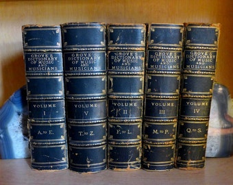 Grove's Dictionary of Music & Musicians 1909 London MacMillan Norwood 5 Book Set of 5 Volumes I-V, Antiquarian Books Blue Leather Gilt Gold