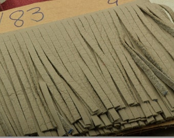Light taupe Leather Fringe for embellishment of purses , jackets or other accessories, sold by ft (30 cm) - C1026/83