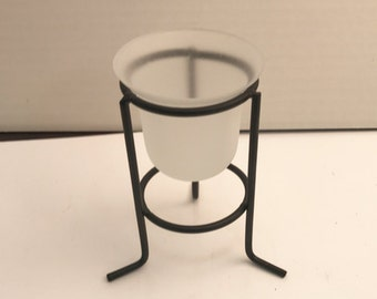 Votive Holder , metal form, Glass included   , table stand free standing, V1001,  1 ea