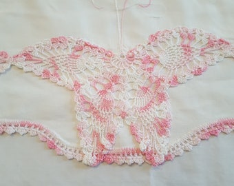 Antique Pillowcase  Salvage Trim Edge Crocheted Butterfly Pink White Reuse Sewing Supplies