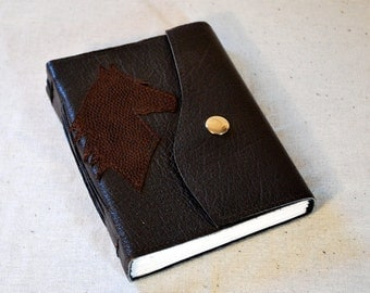 SUMMER SALE:  Kentucky Horse Medium Dark Leather Journal with Recycled Paper