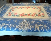 Vintage Farmhouse Tablecloth Patriotic Red White and Blue Crisp Clean Colors 54 X 72 Inches ECS SVFT