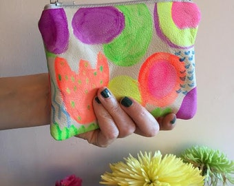 Abstract Shapes Painted Leather Zipper Pouch, Hand Painted, Soft Lamb Leather, Ikat Lined Wallet