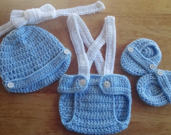 Crochet Baby Boy Lt Blue & White Outfit Photo Prop Newborn Photos Baby Shower Gift  Diaper Cover Booties Newsboy Hat MADE TO ORDER
