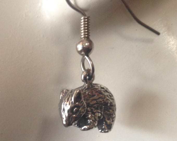 Baby Wombat earrings made with Australian Pewter and Surgical Steel hook