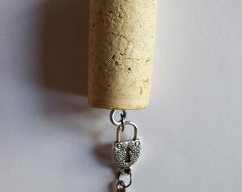 Wine Cork Keychain with Key and Lock Charms