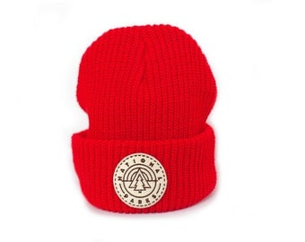 Red beanie with National Park Patch