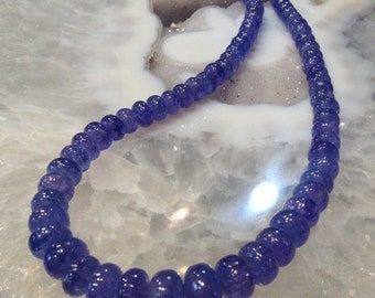 50% Mega Sale 6-10mm Amazing Natural Tanzanite Rondelle Gemstone Beads