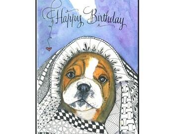Cute English Bulldog Birthday card with Hand Calligraphy