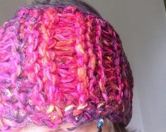 "Crochet headband, 7"" wide dread head wrap, SOFT stretch hair band messy bun hat ponytail hat, purple magenta pink bohemian hippie cotton 869"