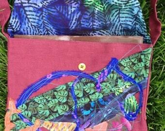 Messenger Bag, Batik handbag large purse in plum cotton silk canvas, tribal fiber art lined Bohemian hipster i804 Life's an Expedition sale