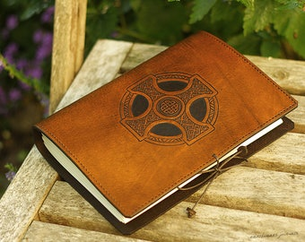 A5, Medium, Leather Bound Journal, Celtic Cross, Celtic Journal, Brown Leather, Celtic Knot, Leather Notebook, Blank Book, Personalized.
