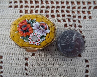 Vintage Micro Mosaic Yellow Floral Pill Box: Made in Italy
