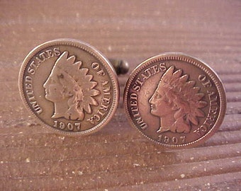 1907 Indian Head Penny Cuff Links