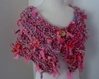 Scarf  Hand Spun Hand Knit Scarf dusky hot pinks  colors merino silk mix