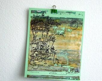 CLIFFHANGER #17 retro beach print in soft neutrals by Kathryn DiLego