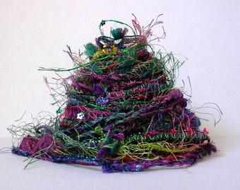 flower song fiber effects™  art yarn bundle 12yd ribbon sari silk trim embellishment textile fiber pack  . green pink purple sequin flowers
