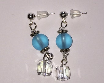 Aqua Blue, Clear Crystal Dangle Pierced Earrings