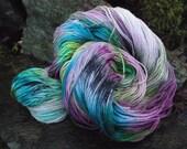 Handpainted sock yarn, fingering yarn, Superwash Merino Wool silk, sparkle, and Nylon ,100 grams-Carousel