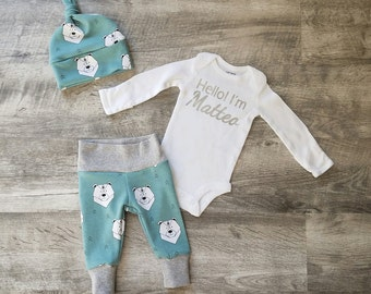 Personalized Baby Boy Coming Home Outfit. Hello! I'm (insert babe's name here) Sip and See Outfit. Personalized Coming Home Outfit. Joggers.