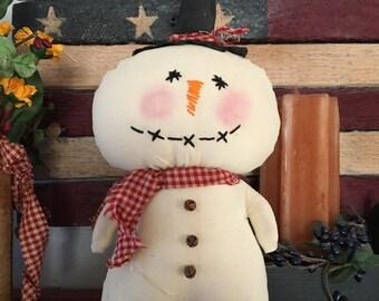 Primitive Stump Doll Snowman Christmas