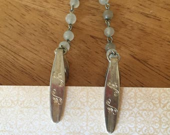 Vintage Sweater Guards Engraved with milky white beads Goldtone links Retro Jewelry