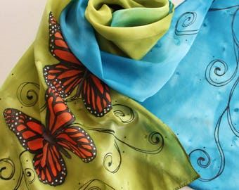 Hand Painted Silk Scarf - Handpainted Scarves Monarch Butterflies Butterfly Olive Green Sapphire Blue Orange Black Spring Summer