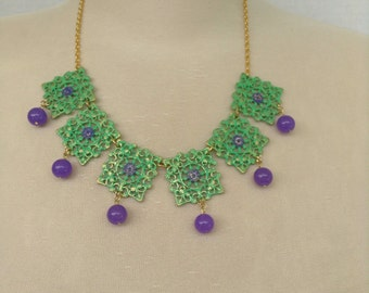 Purple and green filigree necklace