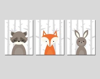 Fox Nursery Art Woodland Nursery Art Set of 3 Forest Animal Nursery Decor Deer Moose Wolf Raccoon Bunny Rabbit Bear - CHOOSE YOUR ANIMALS