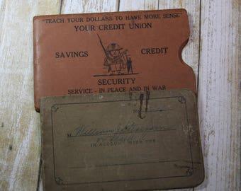 Vintage SAVINGS BOOK- War Time Credit Union Savings Log- Pass Book- Balboa Panama Canal 1940's- Canal Zone