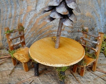 Fairy Furniture Patio set, Table, Chairs, Miniature Fairy House Accessories, Natural materials, FREE SHIPPING